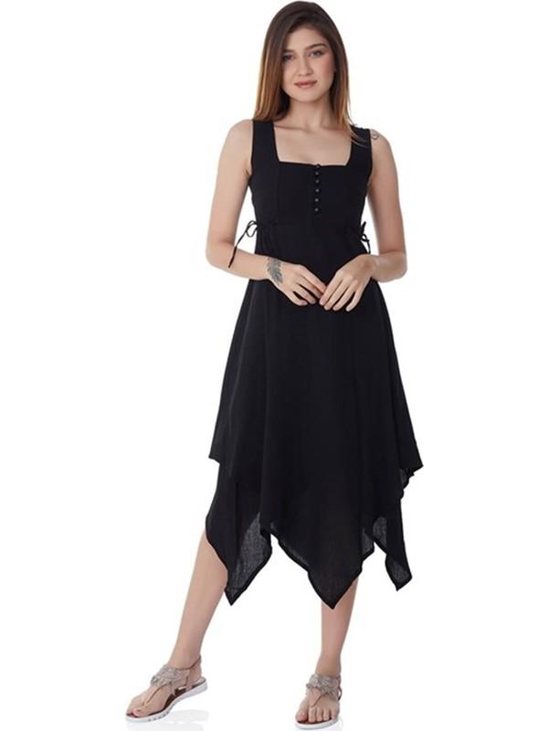 Eliş Şile Bezi Üçgen Katlı Şile Bezi Elbise Siyah