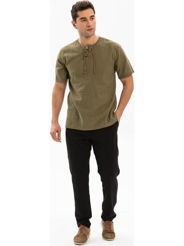 Eliş Şile Bezi Şile Bezi Cepli Erkek Pantolon Siyah