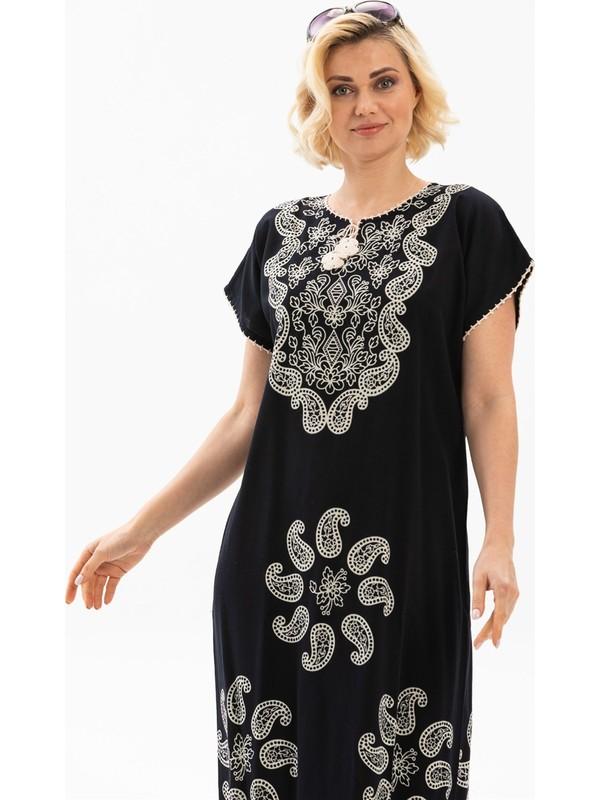 Eliş Şile Bezi Hitit Pamuk Elbise Sarmaşık Desen Siyah