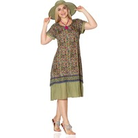 Eliş Şile Bezi Defne Vual Elbise Çıtır Desen Yeşil
