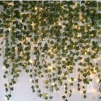 Dekoratif Yeşil Yapraklı Yapay Sarmaşık Gün Işığı LED Işık, 2,3 mt 30 LED