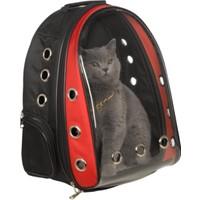 Es-Se Ticaret Şeffaf Astronot Kırılmaz Kedi Köpek Taşıma Çantası 42 x 22 x 33 cm - Kırmızı