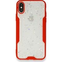 Moserini iPhone 8 Platin Silikon Silvery Kırmızı Telefon Kılıfı - Simli