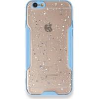 Moserini iPhone 6 / 6s Platin Silikon Silvery Turkuaz Telefon Kılıfı - Simli