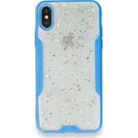 Moserini iPhone 8 Platin Silikon Silvery Turkuaz Telefon Kılıfı - Simli