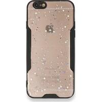 Moserini iPhone 6 / 6s Platin Silikon Silvery Siyah Telefon Kılıfı - Simli