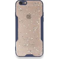 Moserini iPhone 6 / 6s Platin Silikon Silvery Lacivert Telefon Kılıfı - Simli