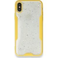 Moserini iPhone 8 Platin Silikon Silvery Sarı Telefon Kılıfı - Simli