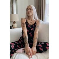 Pijama Evi Karpuz Baskılı Dantelli Ip Askılı Örme Kadın Pijama Takımı