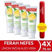Colgate Natural Extracts Limon Yağı Maksimum Ferahlık Diş Macunu 4 x 75 ml + Diş Fırçası Kabı