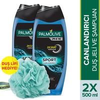 Palmolive Men Sport 3ü 1 Arada Erkek Duş Jeli 2 x 500 ml+Duş Lifi