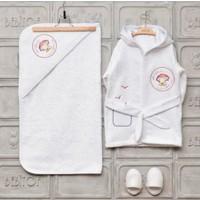 Bebitof Bebek Kırmızı Şemşiyeli Ayıcık Bornoz Seti