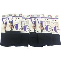 Vog 6'lı Orta Kalın Micro Fiber Siyah Soket Çorap