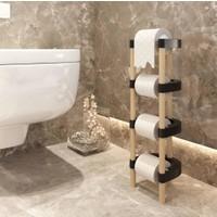 Tvet Design Ahşap 4 Katlı Tuvalet Kağıtlığı Banyo Wc Kağıtlık T39953