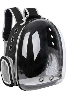 Rota Şeffaf Astronot Kedi Köpek Taşıma Çantası Siyah 42X22X33 cm