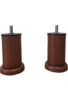 10 cm Kahve Baza, Yatak, Koltuk, Kanepe Ayağı Civatalı M10 (Kalın Diş) (2 Adet)