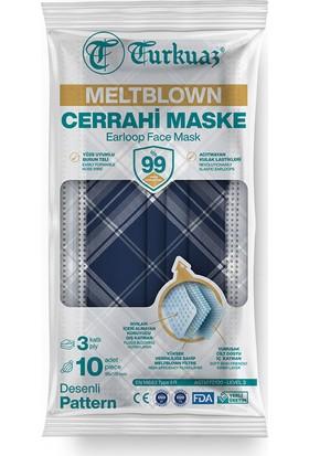 Turkuaz Desenli 10 Adet Cerrahi Maske 3 Kat Meltbrown Burun Telli Yumuşak Elastik Lastikli Mavi Kareli