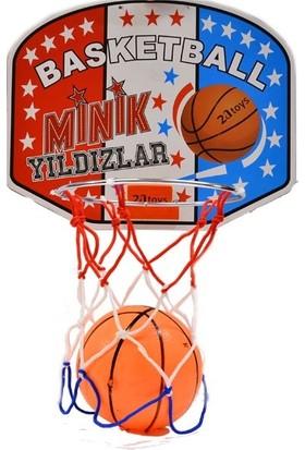 Minik Yıldızlar Oyuncak Basketbol Potası ve Topu Küçük Boy Çocuklara Özel Duvara Askılı