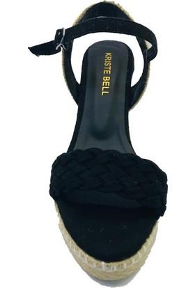 Kriste Bell Siyah Dolgu Hasır Taban Sandalet