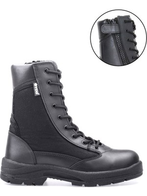 Yds Ml 100 C -Siyah (Fermuarlı, Hakiki Deri, Yazlık Askeri Bot)