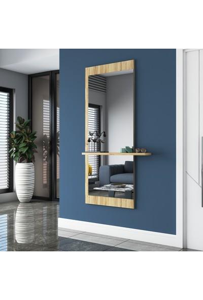 Rani P12 Dekoratif Ayna Raflı Duvar Boy Aynası Keçe Ceviz
