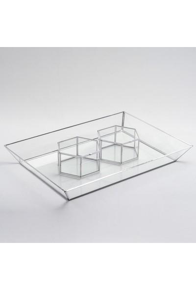 El Crea Designs Gümüş Silver Söz Nişan Tepsisi 2 Adet Yüzük Kutusu