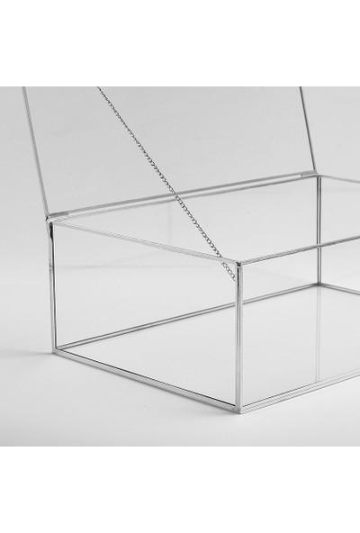 El Crea Designs Gümüş Silver Kapaklı Takı Aksesuar Çikolata Kutusu 30X20X10CM