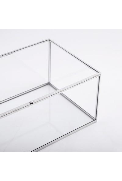 El Crea Designs Gümüş Silver Kapaklı Takı Aksesuar Çikolata Söz Mendil Kutusu 23X12X8CM