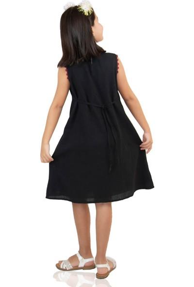 Eliş Şile Bezi Burçak Kız Çocuk Elbise Siyah