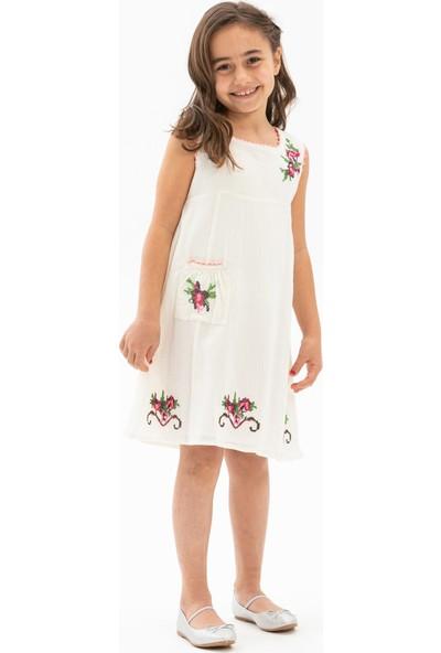 Eliş Şile Bezi Burçak Kız Çocuk Elbise Krem