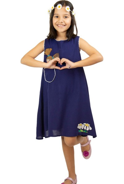 Eliş Şile Bezi Ece Kız Çocuk Elbise Lacivert