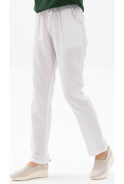 Eliş Şile Bezi Cepli Kadın Pantolon Beyaz