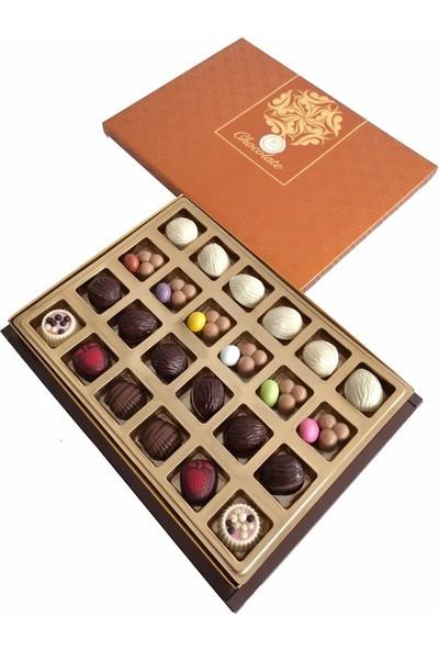 40 Yıl Çikolata Kahve Harfli Yazılı Isimli Resimli Hediyelik Çikolata Draje Kutusu 450 gr