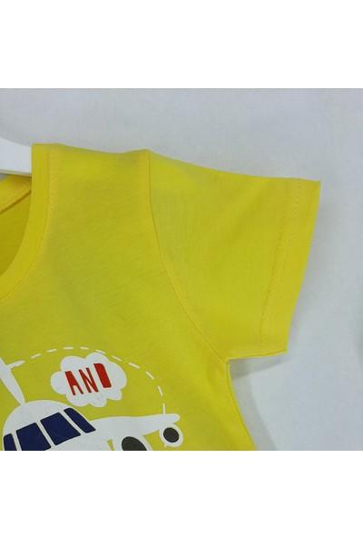 Vitmo Baby Erkek Çocuk Pijama Takımı Kaprili Sarı Uçak