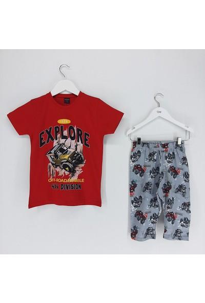 Vitmo Baby Erkek Çocuk Pijama Takımı Kaprili Kırmızı Explore