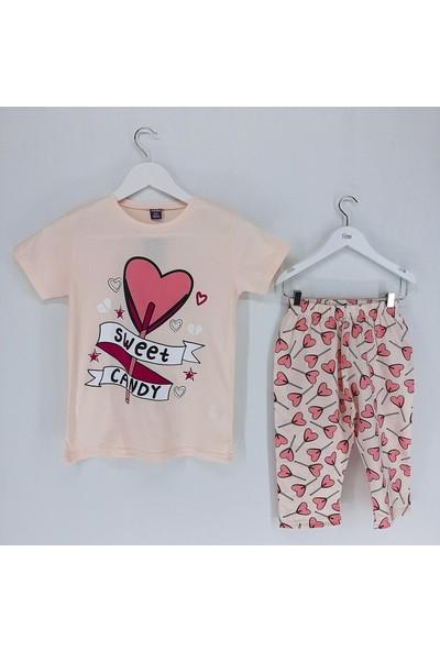 Vitmo Baby Kız Çocuk Pijama Takımı Kaprili Yavruağzı Kalpli Sweet Candy