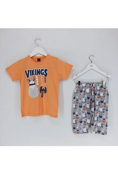 Vitmo Baby Erkek Çocuk Pijama Takımı Kaprili Turuncu Vikings