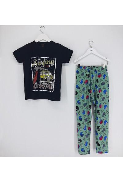 Vitmo Baby Erkek Çocuk Pijama Takımı Siyah Surfing Time Hawaii
