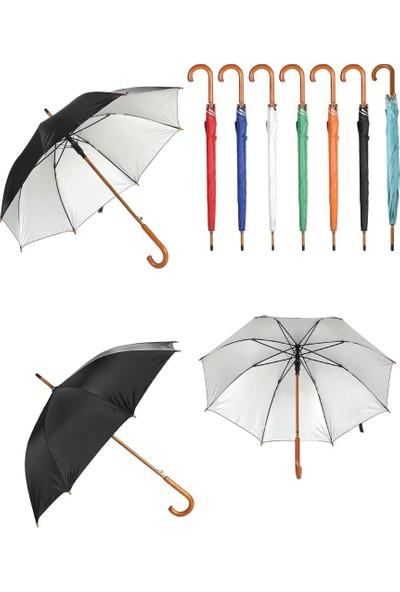 Trend Hediyelik Ahşap Saplı 8 Panel Süspansiyonlu Mekanizmalı Fiber Glass Kırılmaz Şemsiye