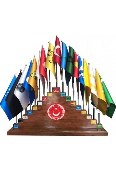 Bayrakal Eski Türk Devletleri Bayrakları + Ahşap Kaidesi