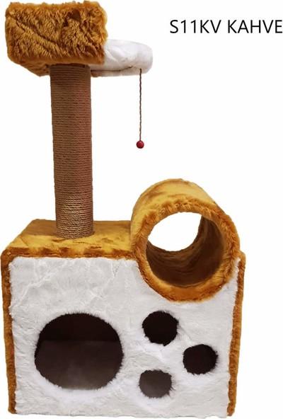 Cat Hause S11 Tünelli Yataklı Kedi Tırmalama Kahve 90 cm