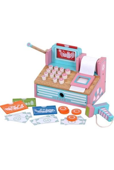 Mentari Çocuk Oyuncak Eğitici Ahşap Market Yazar Kasası Cash Register