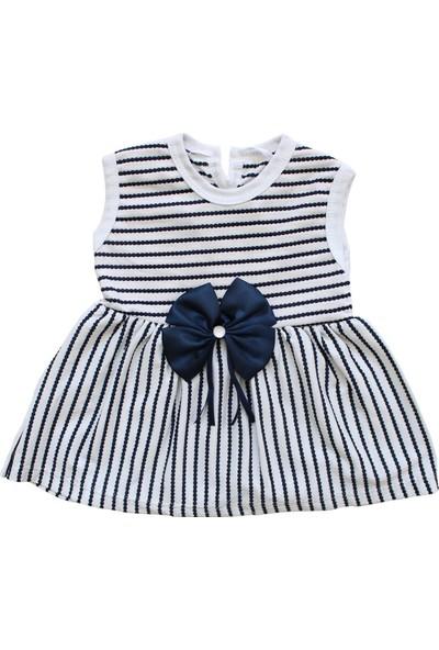 Bebekodam Çizgili Lacivert Kurdelalı Kız Bebek Elbise - Lacivert
