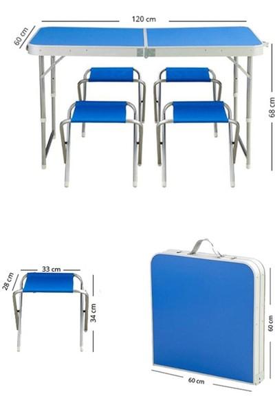 Kervancı Piknik Masa Seti 60X120 Dört Tabureli Katlanabilir