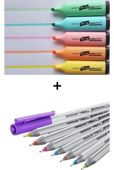Scrikss ve Pensan 13 Renk Fosforlu ve Tükenmez Kalem Seti