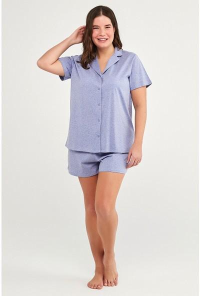 Penti Lila Violet Dotted Gömlek Şort Takım