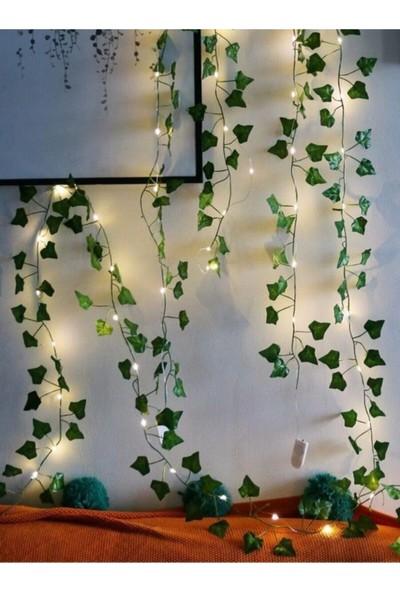 Dekoratif Yeşil Yapraklı Yapay Sarmaşık Gün Işığı (Sıcak Sarı) LED Işık, 2,3 mt 30 LED Glr-Slg3