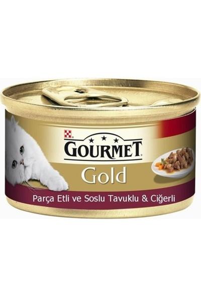 Gourmet Gold Parça Etli Soslu Tavuklu Ciğerli Kedi Konservesi 6'lı Set