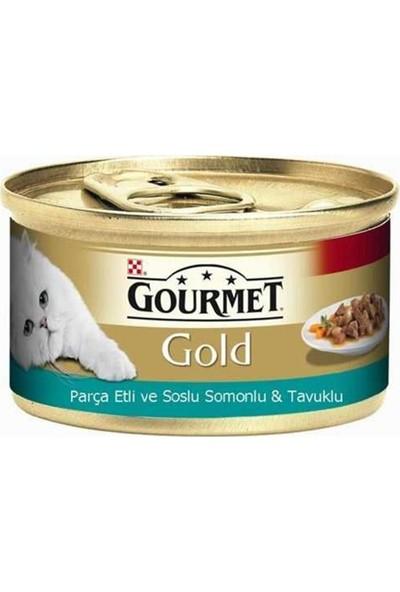 Gourmet Gold Parça Etli Soslu Somonlu Tavuklu Kedi Konservesi 9'lu Set