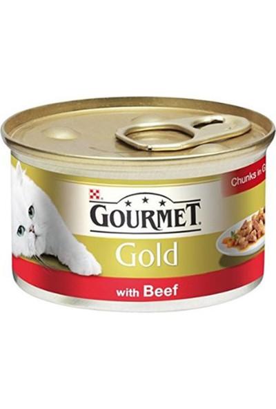Gourmet Gold Parça Etli Soslu Sığır Etli Kedi Konservesi 85 gr 12'li Set